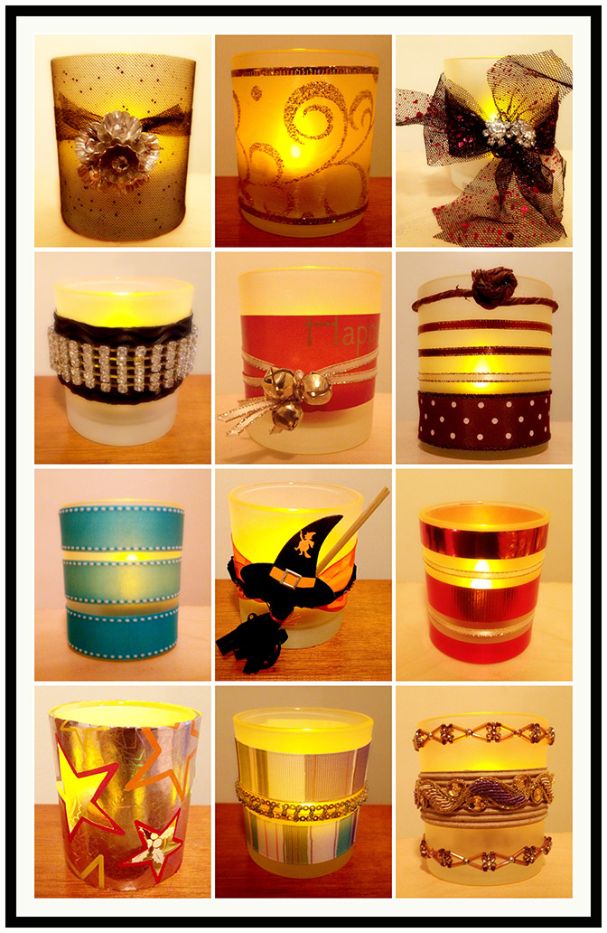DIY candle holders from recycled glass jars